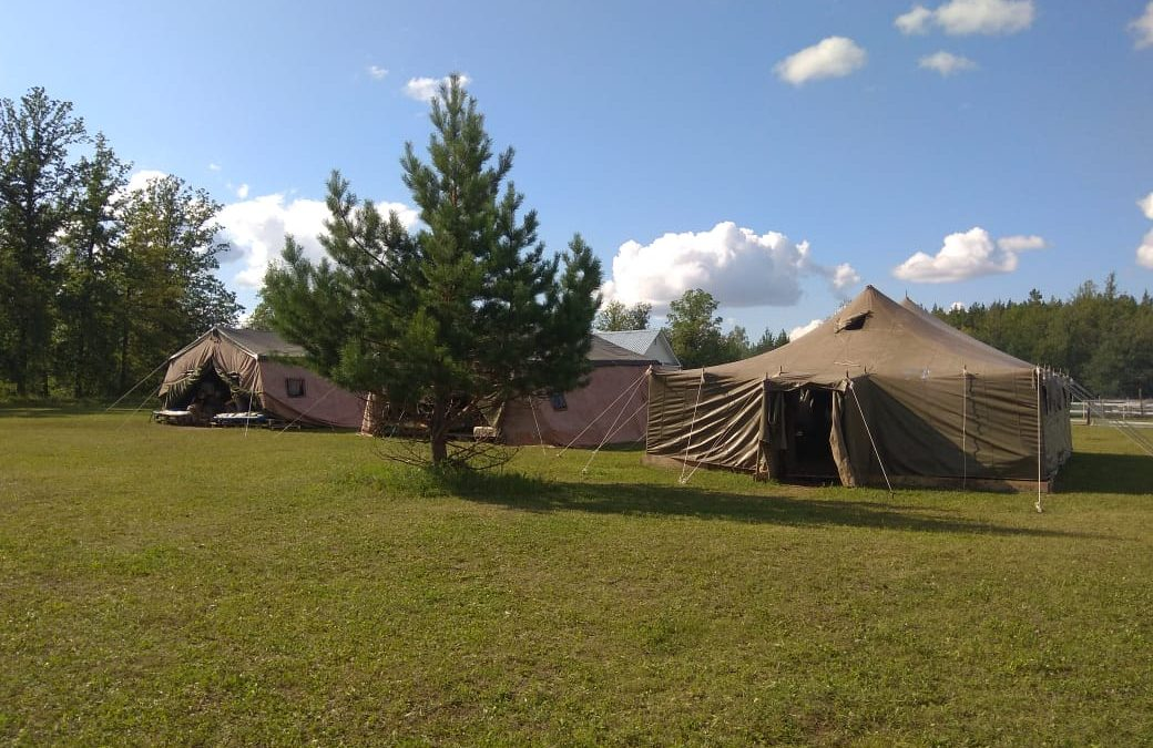 Противопожарные учения в палаточном лагере